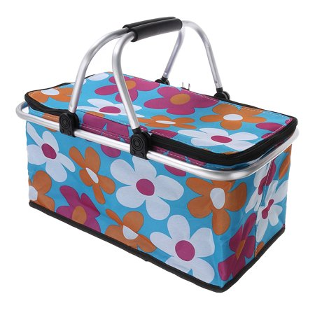 30L Large Collapsible Picnic Basket Insulated Heat & Cooler Portable Travel Camping Food Storage Box Bag Woman Strong Aluminum Frame For 2 4 People