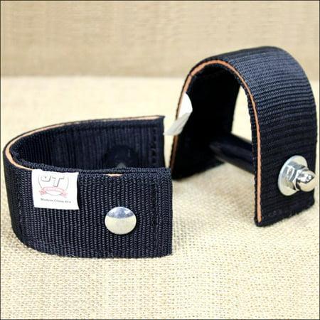 TOUGH-1 BLACK DURABLE NYLON AND LEATHER 2-1/2 inch SADDLE STIRRUP TURNER STRAP Nylon Stirrup Leathers