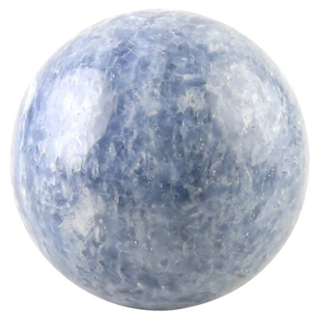 Crystal Allies Gallery: Natural Blue Calcite Ball Sphere w/ Authentic Crystal Allies Stone Card (1/2lb - - Stone Crystal Sphere