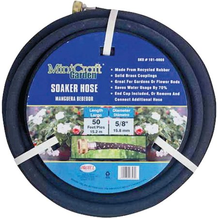 Landscapers Select Soaker Hose, 5/8 in Outside Diameter, 50 ft Length, Rubber, For Gardens or Flower Beds