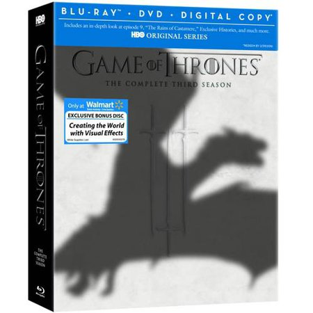 Game Of Thrones  The Complete Third Season  Blu Ray   Dvd   Digital Copy   Visual Effects Bonus Disc   Walmart Exclusive   Widescreen