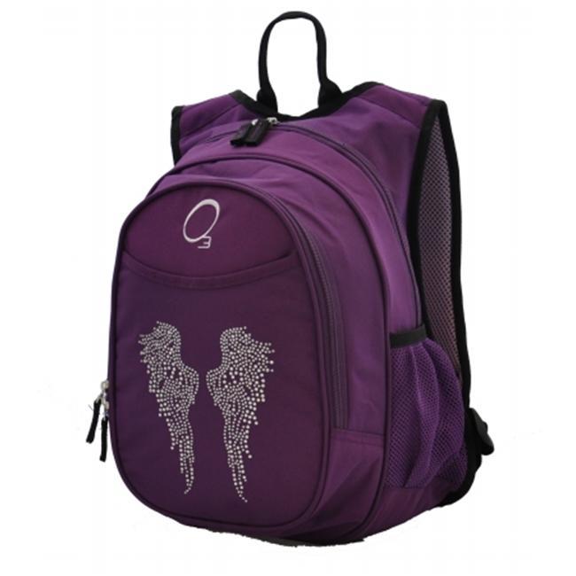 O3 O3KCBP001 Kids Pre-School All-in-One Backpack With Cooler - Bling Rhinestone Angel Wings