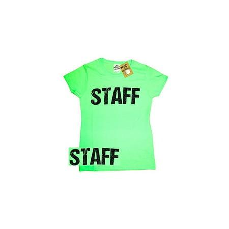 Back Dark T-shirt - Ladies Neon Green Staff T-Shirt Front & Back Print Event Shirt Womens Tee (XL)