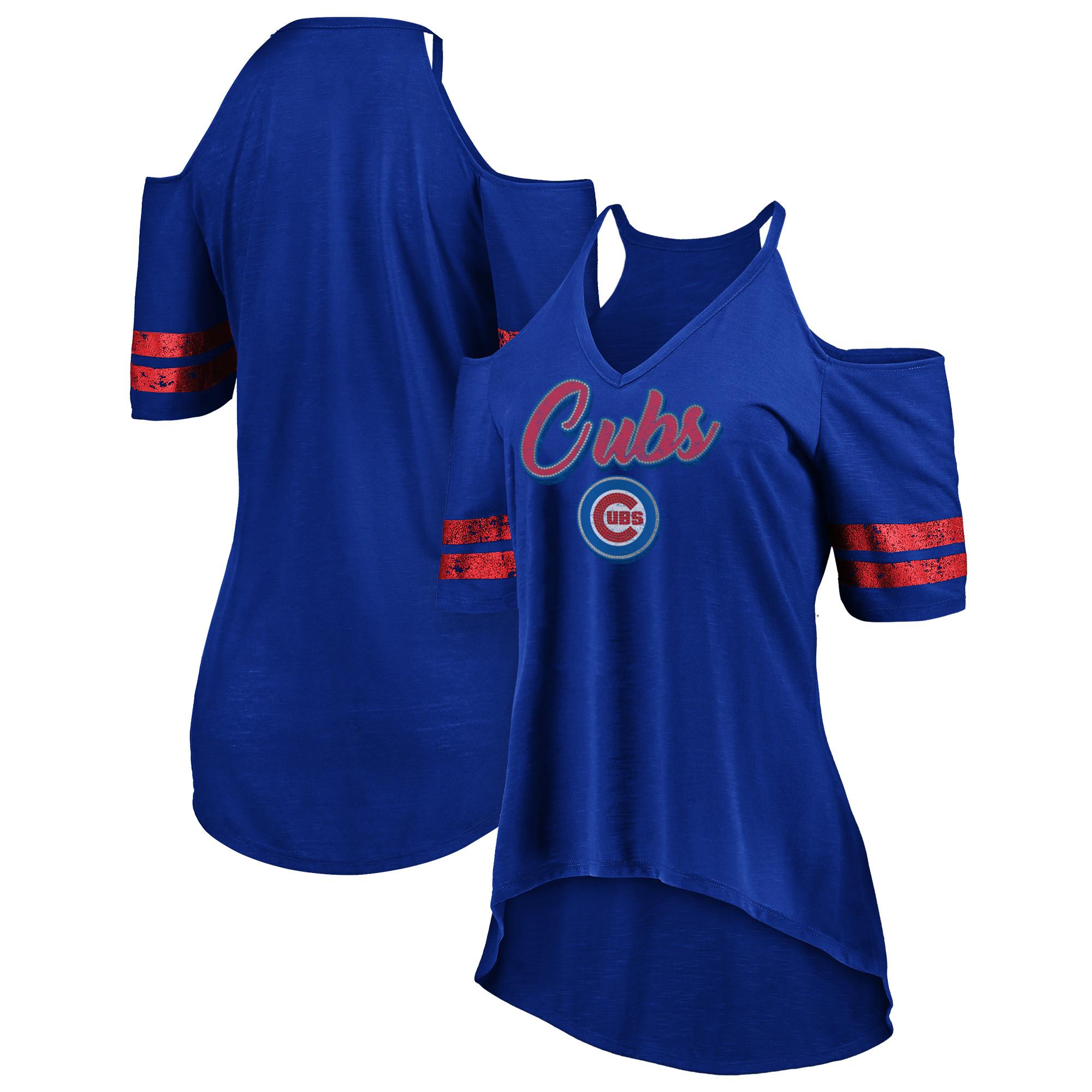 Chicago Cubs Majestic Women's Deep V-Neck Cold Shoulder T-Shirt - Royal