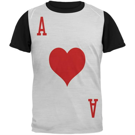 Halloween Ace of Hearts Card Soldier Costume Adult Black Back T-Shirt