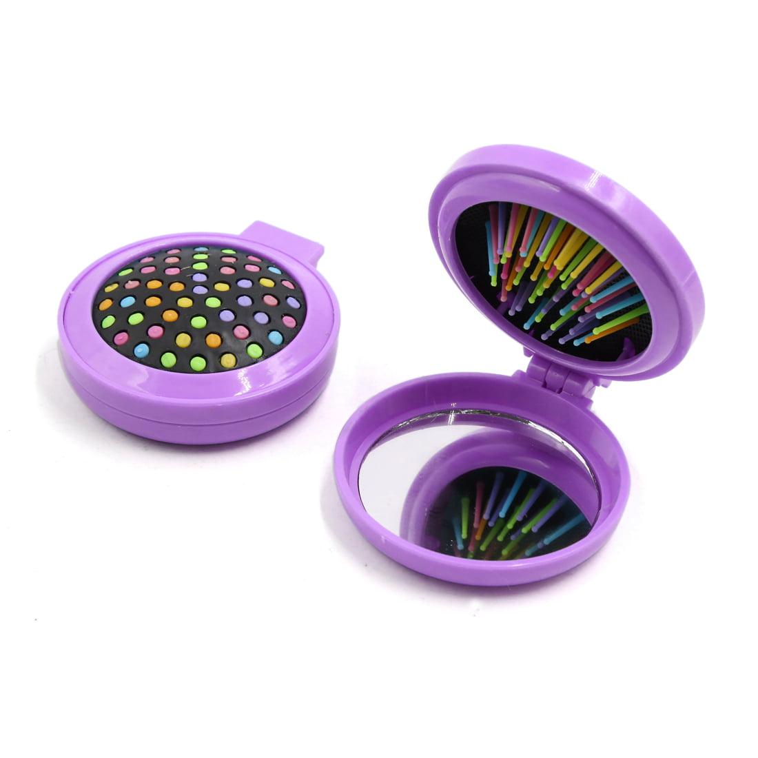 2pcs Purple Mini Portable Pocket Hair Brush Comb Mirror Travel Brus Makeup Tool