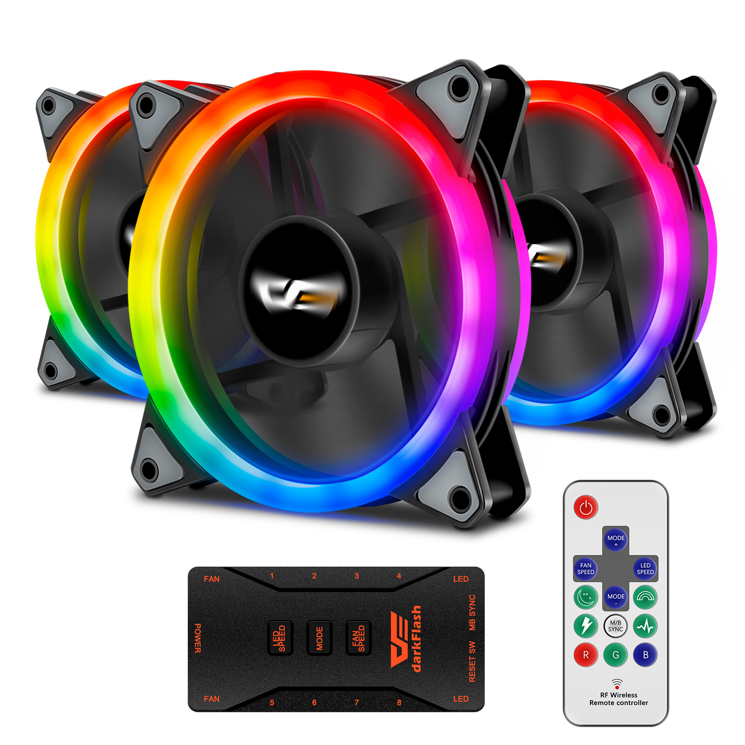 darkFlash Aurora DR12 3IN1 Kit Case Fan 3-Pack RGB LED 120mm High Performance High Airflow colorful PC CPU Computer Case Cooling Cooler with Controller (DR12 3IN1)