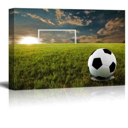 Soccer Canvas Art - wall26 Canvas Prints Wall Art - Close Up of Soccer Ball on an Open Field | Modern Wall Decor/Home Decoration Stretched Gallery Canvas Wrap Giclee Print. Ready to Hang - 32