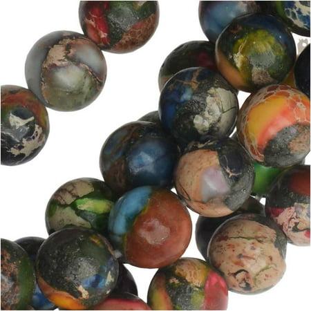 Dakota Stones Gemstone Beads, Mixed Impression Jasper, Round 6mm, 8 Inch Strand (Jasper 6mm Cube Gemstone Beads)