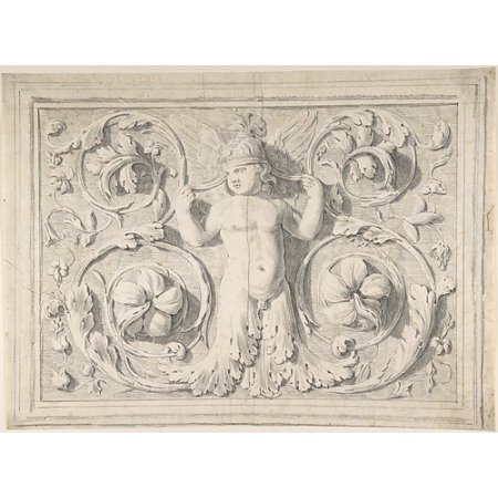 "Antique Roman Sculpture with Nude Winged Boy at the Center and Leaves and Vines Poster Print by Attributed to Thomas Hardwick (British London 1752  ""1829 London) (18 x 24) - Roman Leaves"
