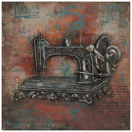 Empire Art Direct Empire Art Sewing Primo Mixed Media Hand Painted Iron Wall Sculpture Décor, Metallic