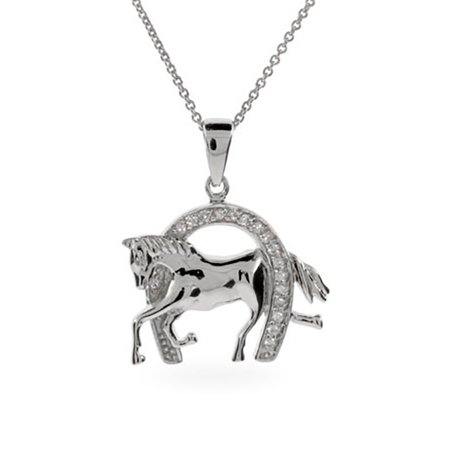 Designer Inspired CZ Equestrian Horseshoe Pendant