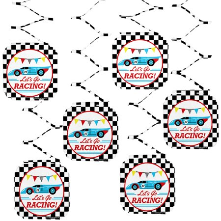 Let's Go Racing - Racecar - Baby Shower or Race Car Birthday Party Hanging Decorations - 6 Count - Cars Birthday Decorations