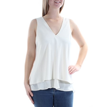 RALPH LAUREN Womens Ivory Sleeveless V Neck Tiered Top  Size: M