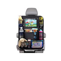 """1 Pack Car Back Seat Organizer for Kids Car Organizer Kick Mats with 10"""" Touch Screen Tablet Holder + 9 Storage Pockets Car Back Seat Protector Car Travel Accessories for Toddlers Toys"""