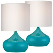 """360 Lighting Mid Century Modern Accent Table Lamps 14 3/4"""" High Set of 2 Teal Blue Steel White Drum Shade for Bedroom Bedside"""