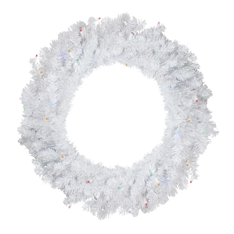 "Darice 24"" Prelit LED Snow White Artificial Christmas Wreath - Multi Lights"