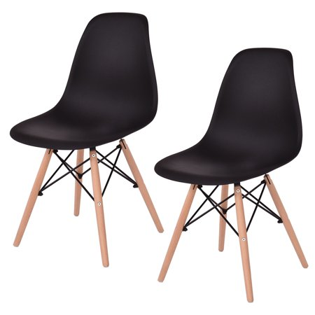Costway 2Pcs Mid Century Modern Style Dsw Dining Side Chair Wood Leg Black