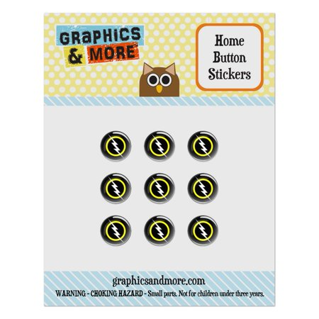 White Lightning Bolt Home Button Stickers Set Fit Apple iPhone iPad iPod Touch - Lightning Bolt Magic
