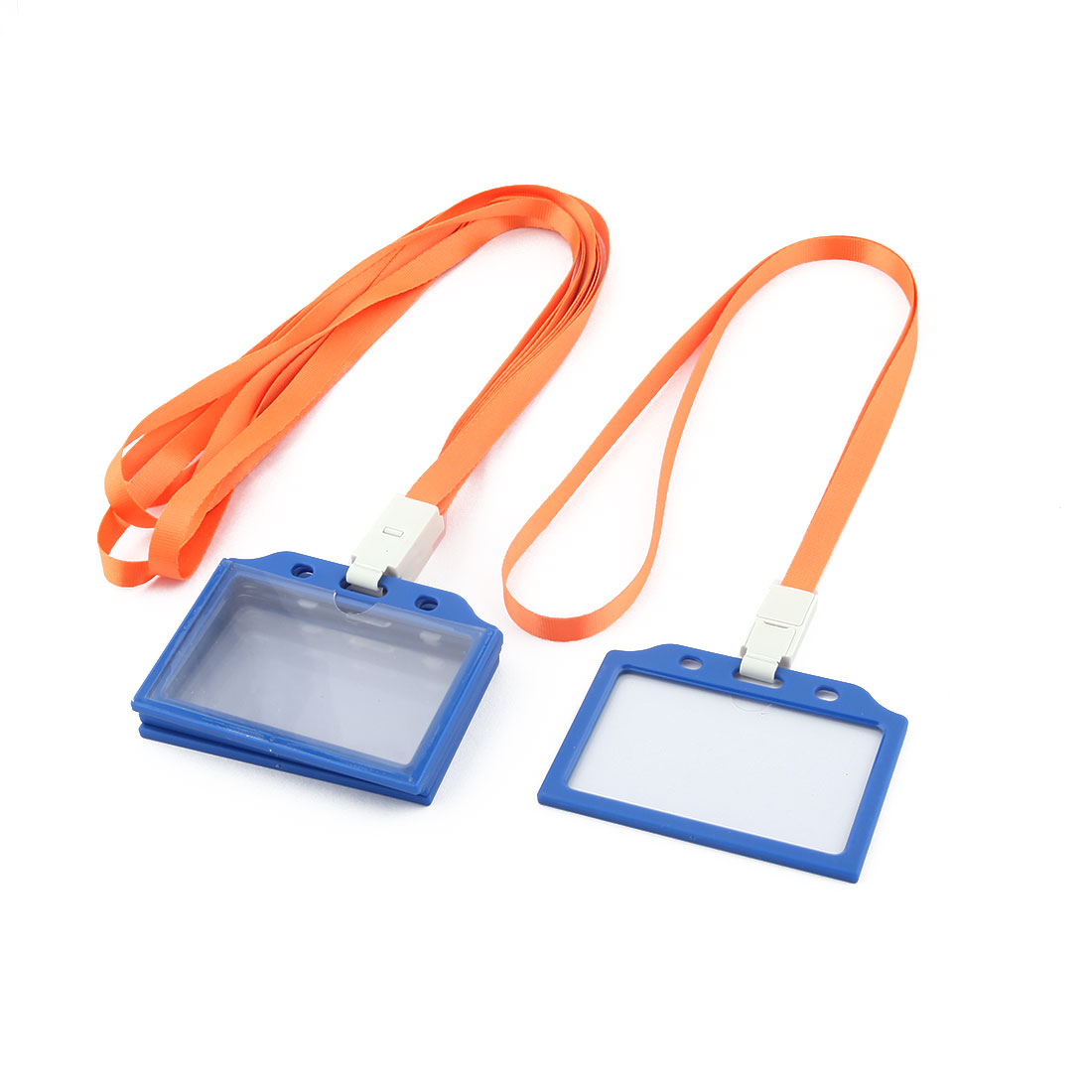 Office School Neck Strap Lanyard Horizontal Name Tag ID Card Holder 5 Pcs