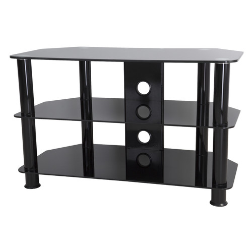 "AVF TV Stand for TVs 10"" to 32"", Black Glass, Black Legs"