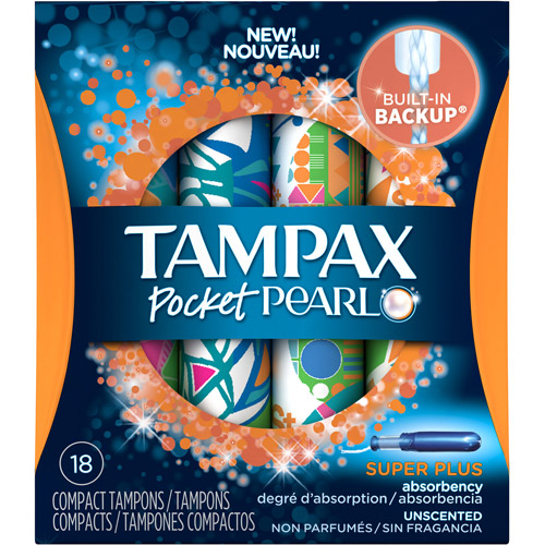 Tampax Pocket Pearl Super Plus Absorbency Unscented Compact Tampons, (Choose your Count)