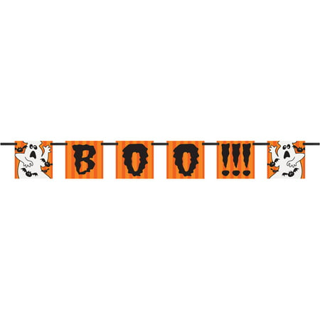 4' Paper Ghost Boo Halloween Banner (Boo Crew Halloween Party Supplies)