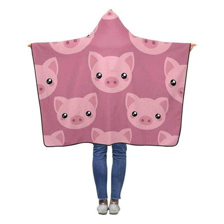 ASHLEIGH Cute Pig Pattern Wearable Hooded Blanket 40x50 inches Toddler Kid Baby Boys Girls Throw Polar Fleece Blankets Wrap