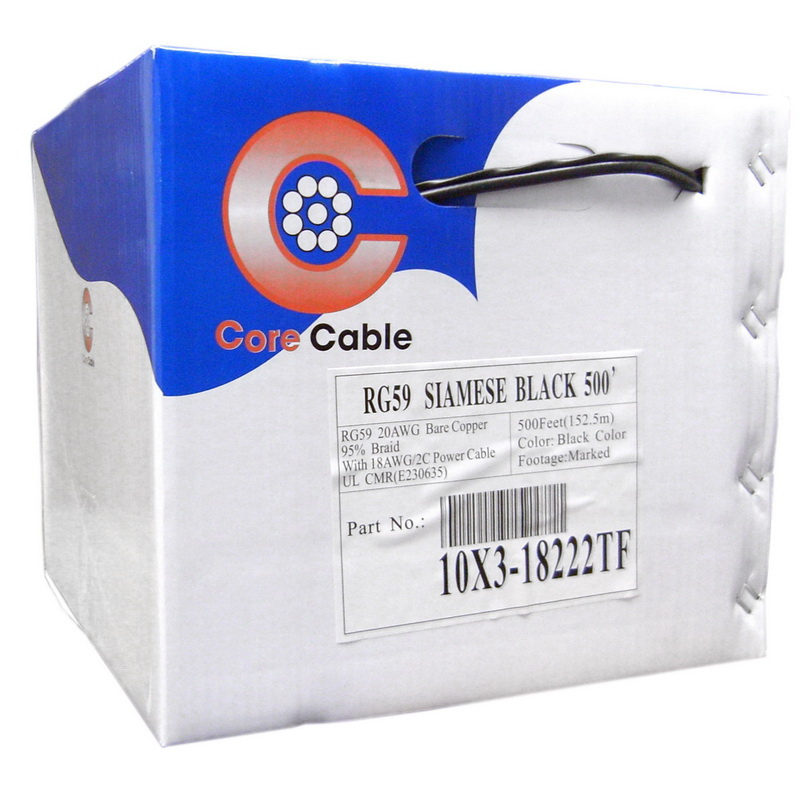 CableWholesale 10X3-18222TF Bulk RG59 Siamese Coaxial/Power Cable, Black, Solid Core (Copper) Coax, 18/2 (18 AWG 2 Conductor) Stranded Copper Power, Pullbox, 500 foot