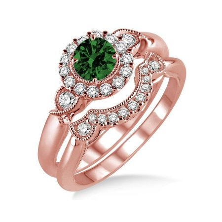 1.25 Carat Emerald & Diamond Antique Three Stone Flower Halo Bridal Set in 10k Rose Gold affordable emerald and diamond engagement ring