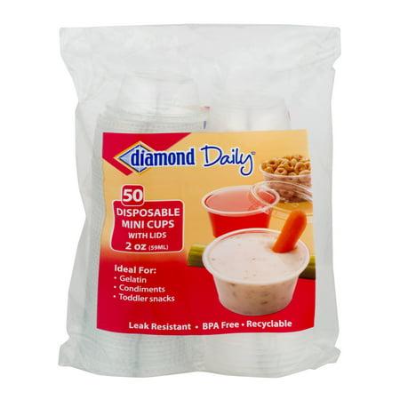 (3 pack) Diamond Multi-Purpose Mini Cups & Lids, 2 Oz, 50 Count - 1oz To Cups