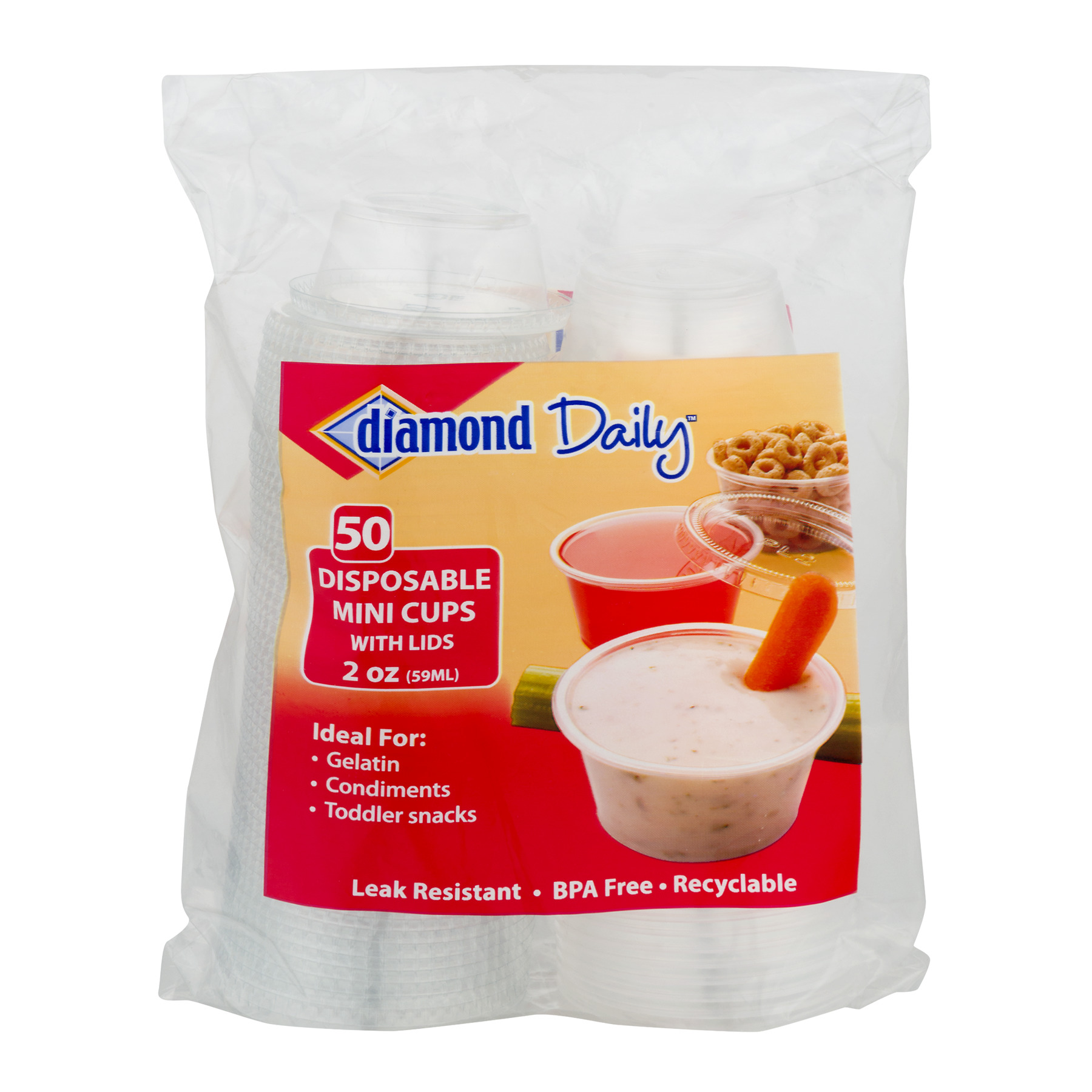 Diamond Multi-Purpose Mini Cups & Lids, 2 Oz, 50 Count