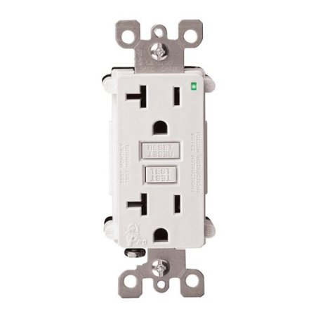 7899-W 20 Amp 125 Volt, SmartlockPro GFCI, with Indicator Light, Nylon Wallplate and Screws Included, White, Automatically test the GFCI every time the RESET.., By