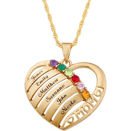 Personalized Mother Day Gifts (Family Jewelry Personalized Mother's Mother Birthstone & Name Heart Necklace,)