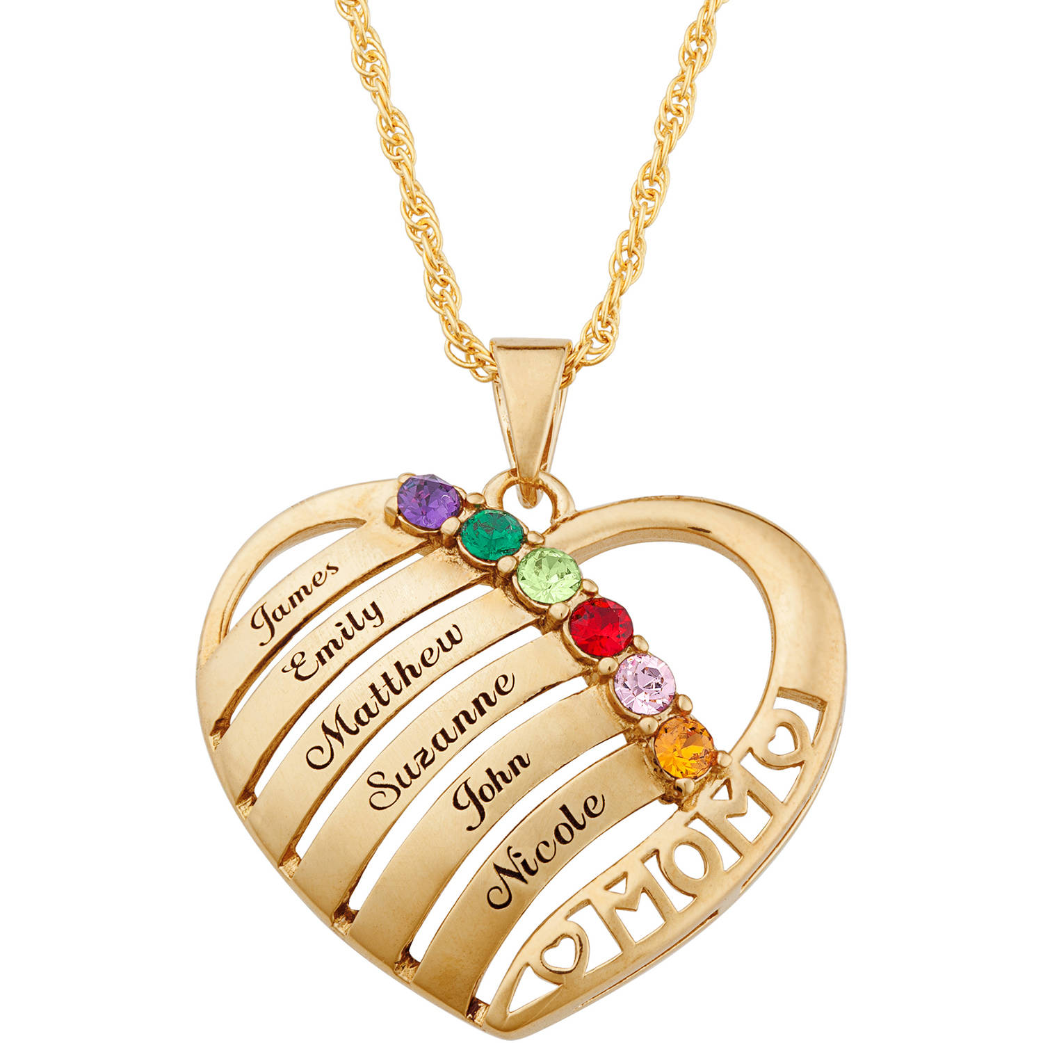 birthday month gift Mothers Day name pendant Birthstone heart necklace Mother of three Gift from children personalised necklace