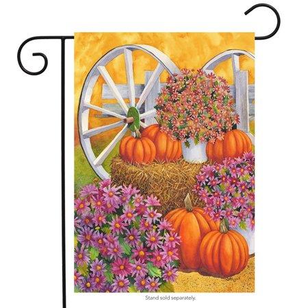 Fall Wagon Floral Garden Flag Mums Pumpkins 12.5