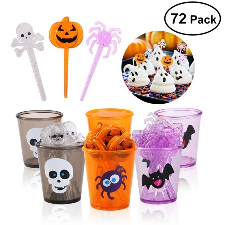 Halloween Picks Set Cupcake Topper Decorative Cupcake or Appetizer Picks (Pumpkin + Spider + Skull)