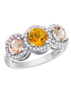 10K White Gold Natural Citrine & Morganite Sides Round 3-stone Ring Diamond Accents, size 5