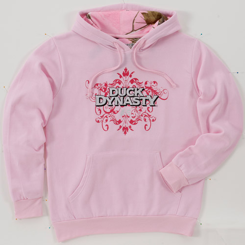 Realtree Women's Solid Pullover Hoody Lined with Realtree Pink Camo, Duck Dynasty Screen Front