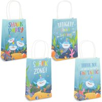 24 Pack Shark Party Favor Gift Bags with Handle, 9 x 5.3 x 3.15 inches,Blue and 4 Assorted Designs Shark Themed Kraft Paper Goody Treat Bag for Kids Birthday, Celebrations, Festive Holiday Decoration