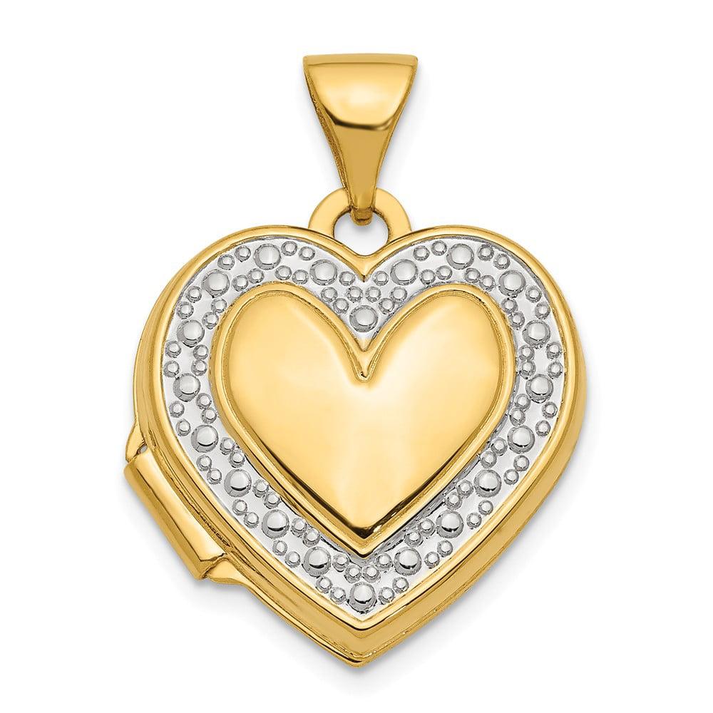 14k Yellow Gold & Rhodium Accent Heart Locket
