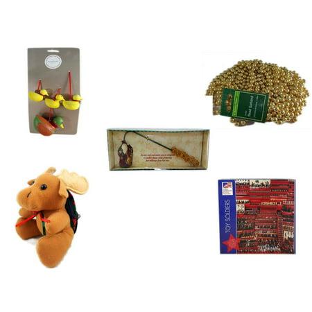Debbie Mumm Bird - Christmas Fun Gift Bundle [5 Piece] - Martha Stewart Woodland  Set of 4 Duck Ornaments - Gold Bead Garland Strand 18' Feet - Debbie Mumm Button Santa Candle Snuffer -  Moose With Plaid Backpack  5