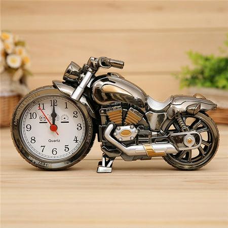 Motorcycle Motorbike Pattern Alarm Clock Creative Home Birthday Christmas Desktop Decor Gift Cool -