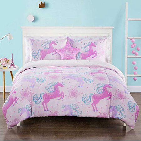 Fairy Tale Unicorns, Stars, & Whimsical Dreams Girls Full Comforter Set (7 Piece Bed in A Bag)