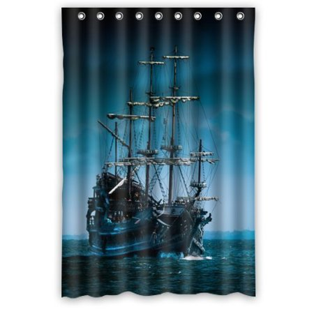 MOHome Caribana Big Sailboat Shower Curtain Waterproof Polyester Fabric Size 36x72 Inches