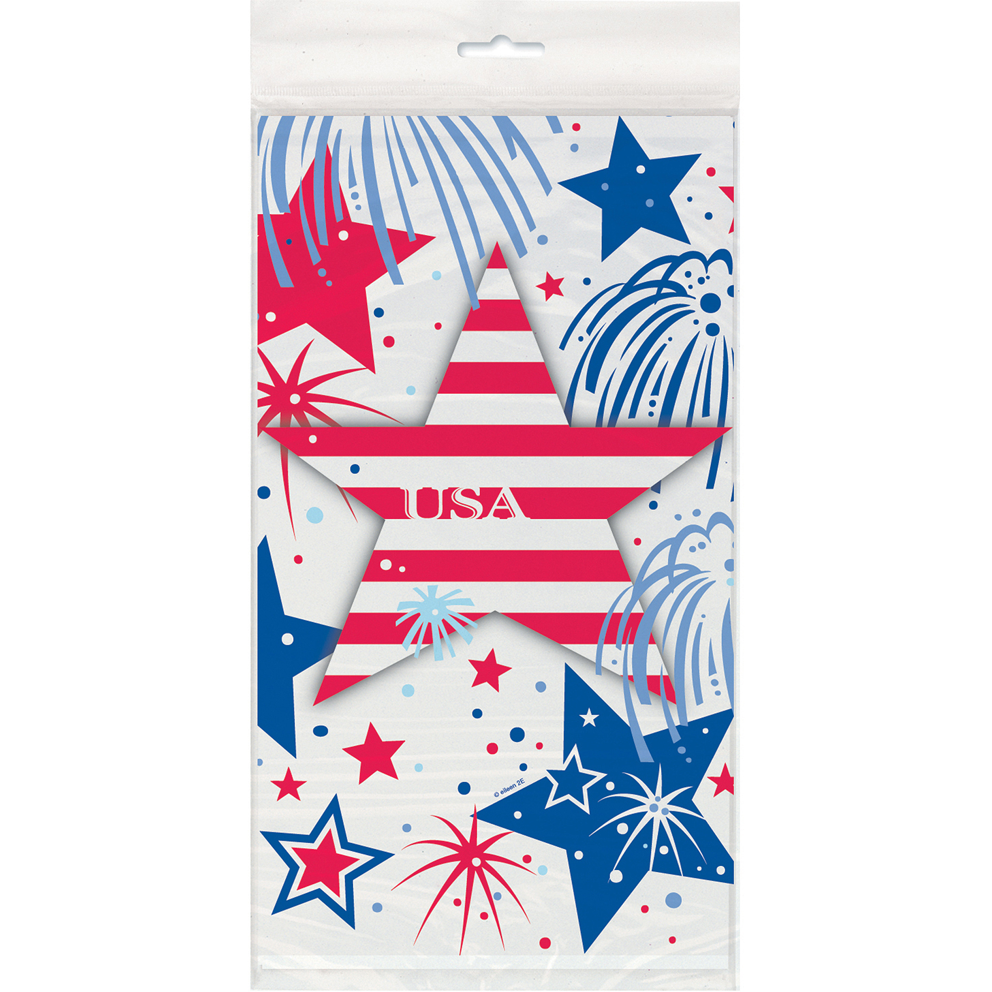 "Plastic Fourth of July Fireworks Table Cover, 84"" x 54"""