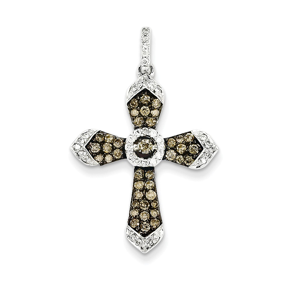 14K White Gold/Black Rhod Champagne/Wh Diamond Cross Pendant. Carat Wt- 0.75ct