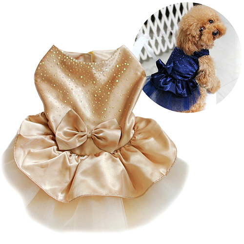 Girl12Queen Pet Dog Puppy Bow Gauze Tutu Dress Skirt Cat Sequin Princess Clothes Apparel
