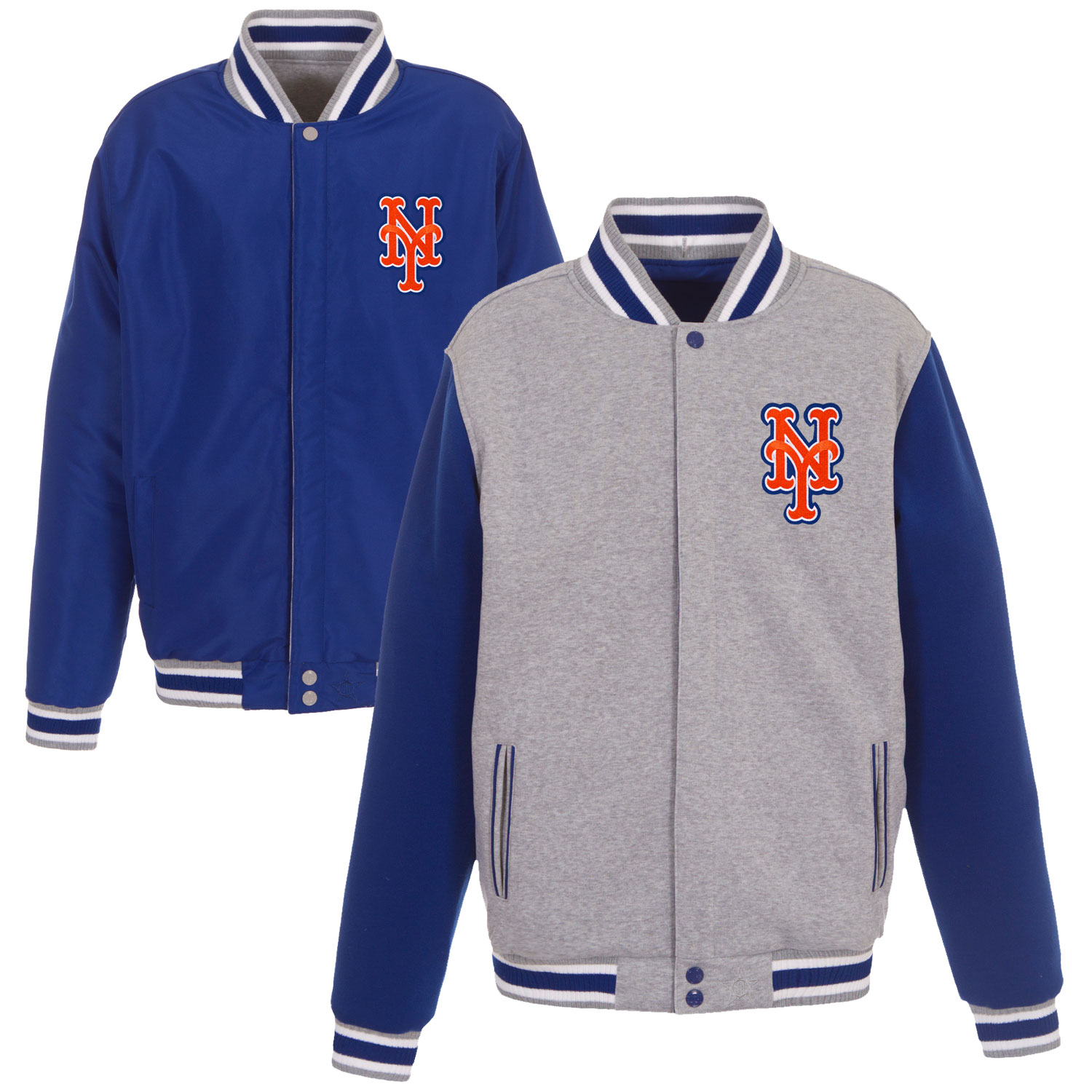 New York Mets JH Design Embroidered Reversible Full Snap Fleece Jacket - Gray