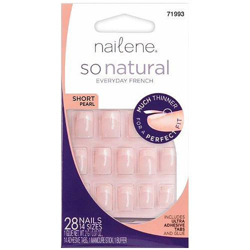 Nailene So Natural Short Pearl False Nails, 28 count